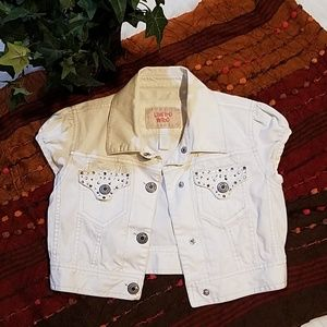 Limited Too White Denim Cropped Jacket